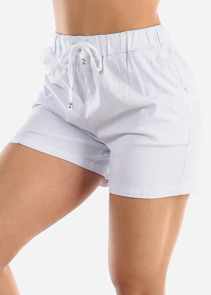 Linen Cotton White Shorts