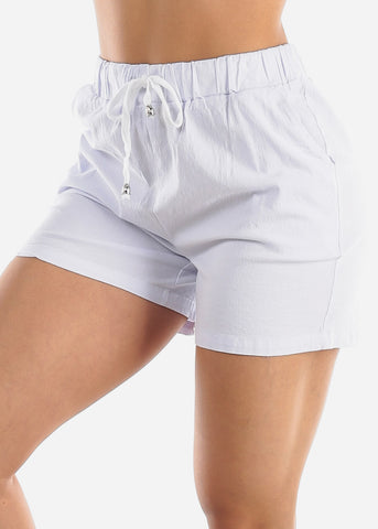 Image of Linen Cotton White Shorts