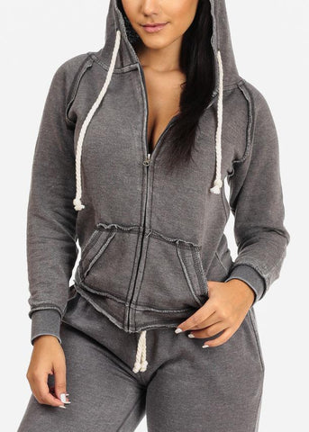 Affordable Casual Wear  Charcoal Sweater W Hood