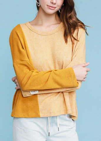 Image of Long Sleeve Mustard Pullover Top