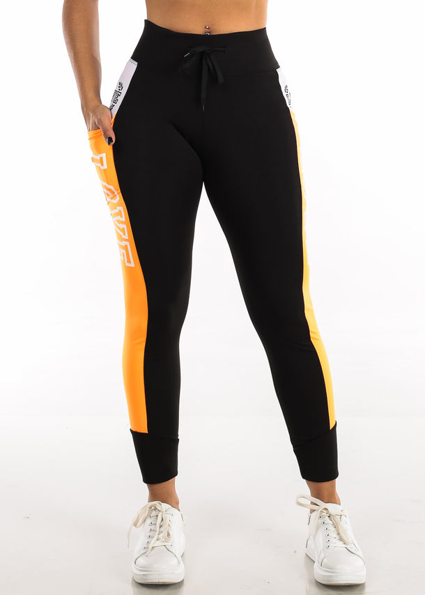 Activewear Orange & Black Leggings