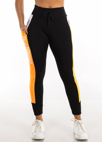 "Activewear Orange & Black Leggings ""Love"""
