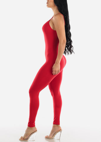 Spaghetti Strap Red Jumpsuit