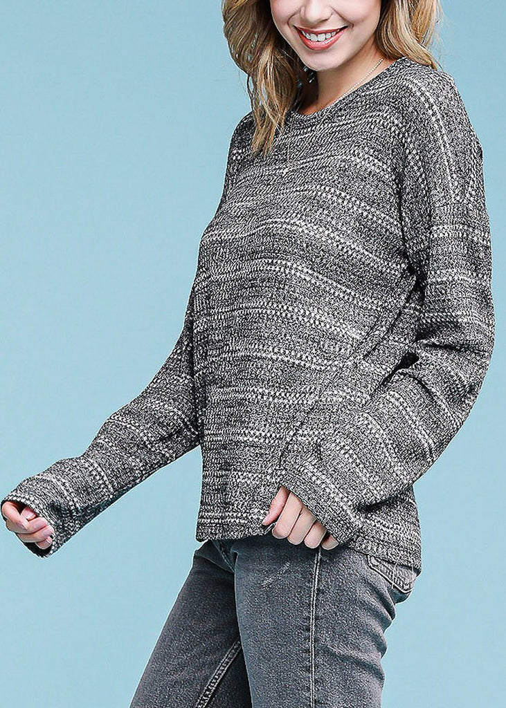 Grey Long Sleeve Stripe Sweater