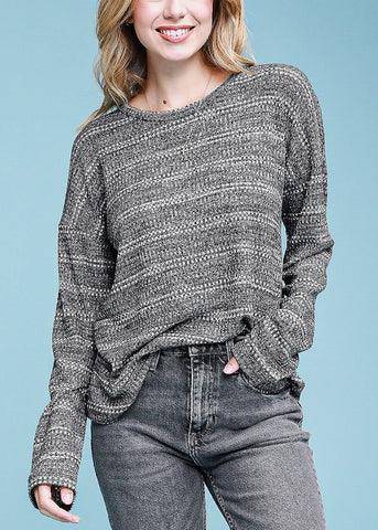 Image of Grey Long Sleeve Stripe Sweater