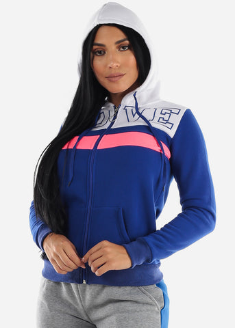 Long Sleeve Zip Up Blue & White Hoodie