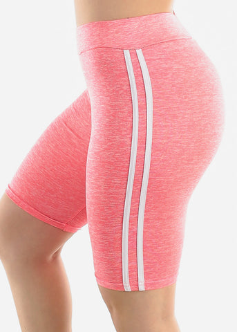 Side Stripes Pink Biker Shorts