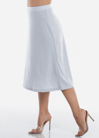 Fit And Flare Stretchy Flowy High Waisted Career Office Professional Wear Dusty Blue Midi Skirt