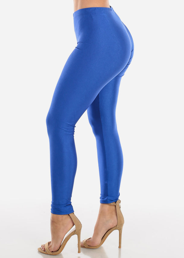 Metallic Blue Mid Rise Leggings