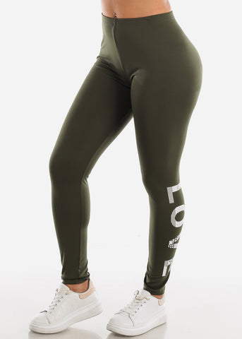 "Activewear Olive Leggings ""Love"""