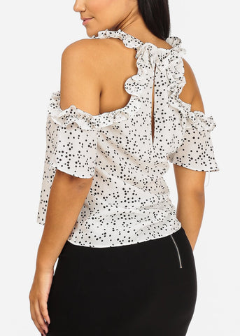 Image of Lightweight Ruffle White Polka Dot Top