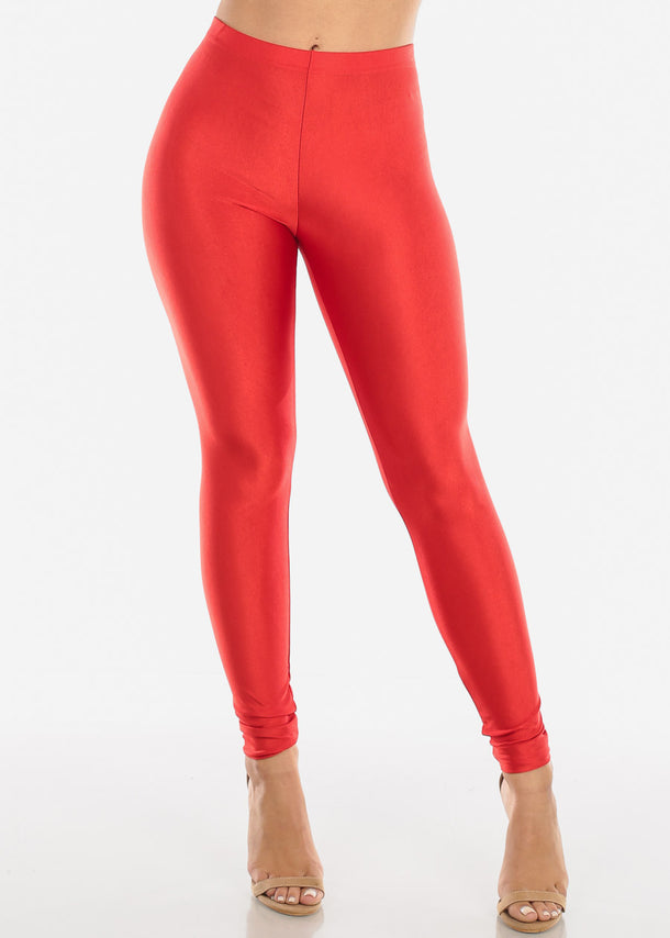 Metallic Red Mid Rise Leggings