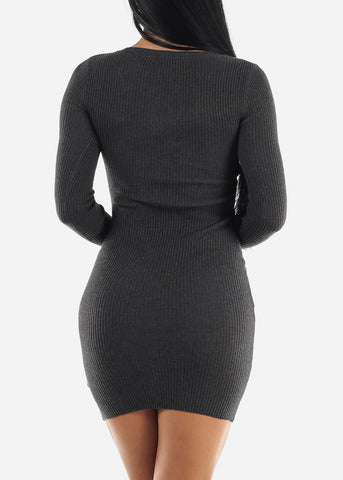 Ribbed Charcoal Bodycon Sweater Dress
