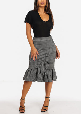 Image of High Rise Ruffle Detail Black Plaid Print Skirt