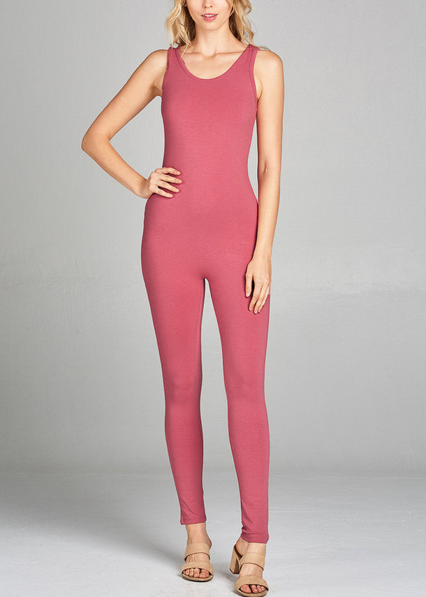 Sleeveless Basic Pink Jumpsuit