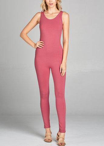 Image of Sleeveless Basic Pink Jumpsuit