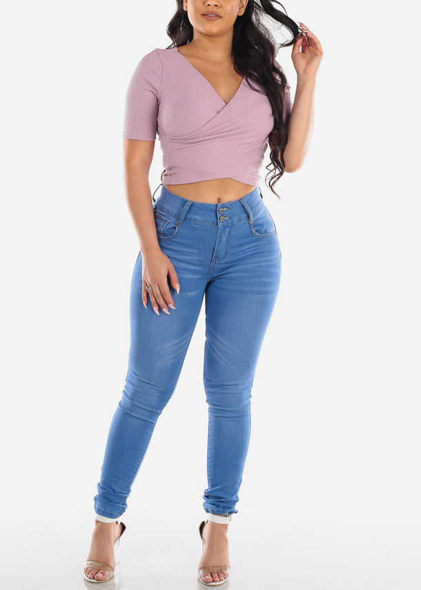 Wrap Front Lavender Ribbed Crop Top