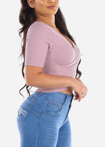 Cute Sexy Stylish Wrap Front Ribbed Lavender Stretchy Crop Top For Women Ladies Junior