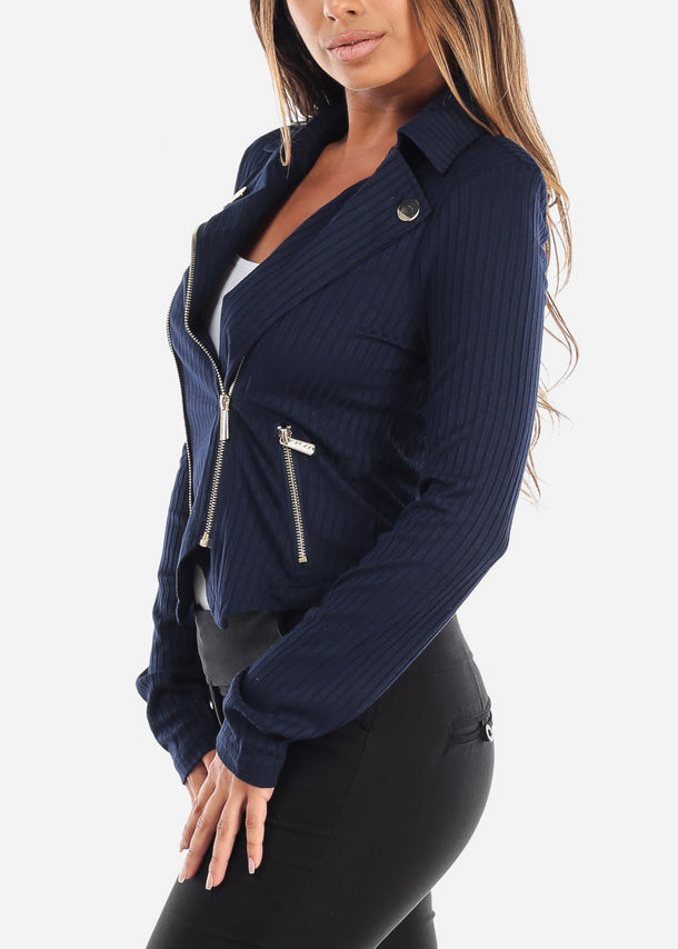 Navy Ribbed Moto Jacket