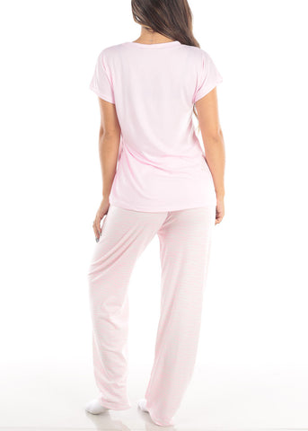 Pink Short Sleeve V Neck Top And Stripe Pajama Pants Two Piece Set