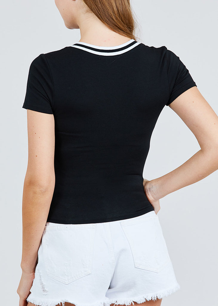 Stripe V Neckline Black Top