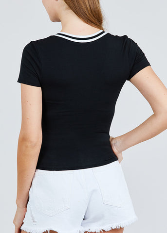 Image of Stripe V Neckline Black Top