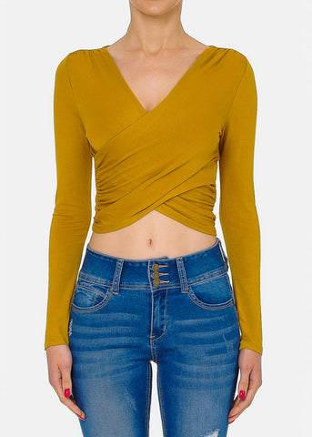 Long Sleeve Mustard Crop Top