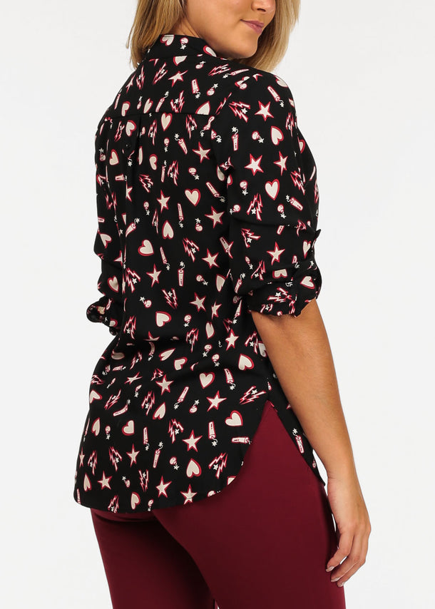 Stylish Printed Black Tunic Top