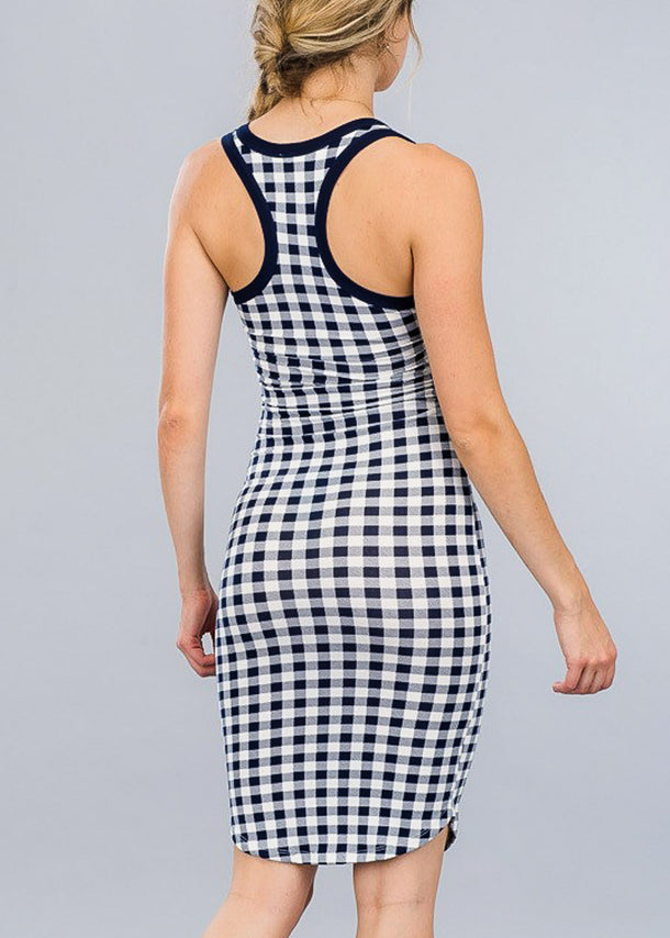 Plaid Navy Bodycon Midi Dress