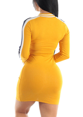 Sporty Long Sleeve Mustard Bodycon Dress