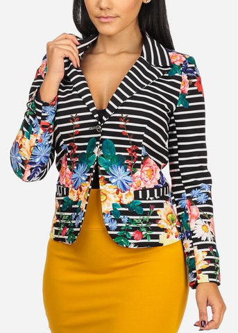 Stripe And Floral Print Blazer
