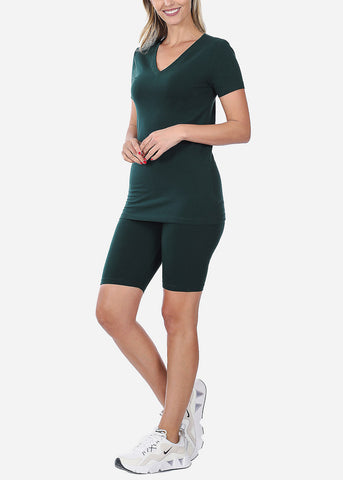 Image of Green V-Neck Top & Shorts (2 PCE SET)