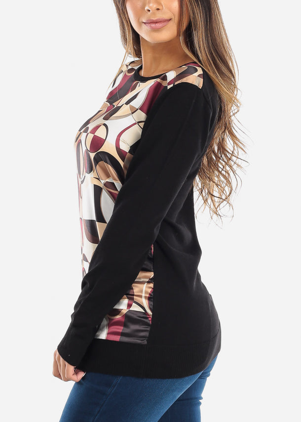 Printed Long Sleeve Black Top