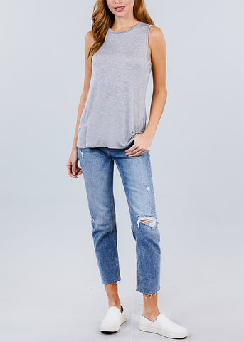 Basic Round Neck Grey Top