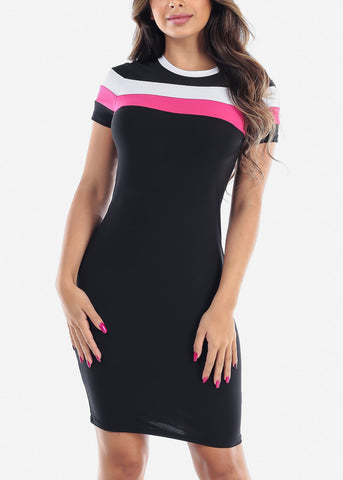Image of Cute Sexy Stylish Tight Fit Black Stripe Bodycon Midi Dress For Women Ladies Junior