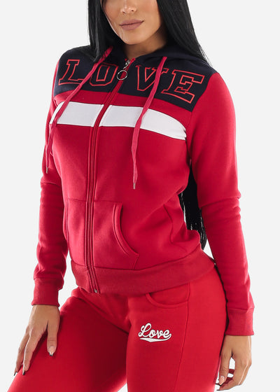 Long Sleeve Zip Up Red & Navy Hoodie