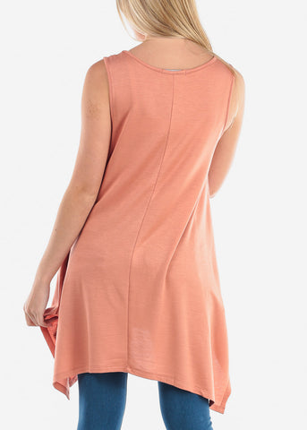 Women's Junior Ladies Casual Cute Sleeveless Asymmetrical Hem Flowy Super Stretchy Round Neckline Peach Orange Tunic Top