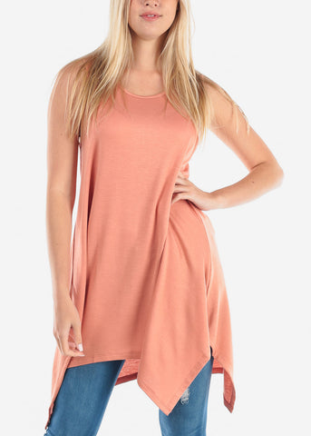 Image of Women's Junior Ladies Casual Cute Sleeveless Asymmetrical Hem Flowy Super Stretchy Round Neckline Peach Orange Tunic Top
