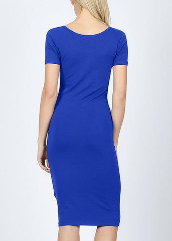 Royal Blue Bodycon Midi Dress 4278PBLU