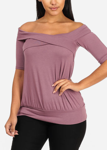 Off Shoulder Crisscross Mauve Top