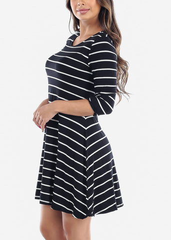 Image of Cute Black Stripe Flowy Dress For Women Ladies Junior On Sale Clearance Huge Savings