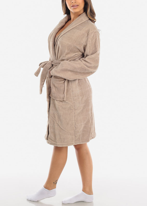 Khaki Fleece Robe