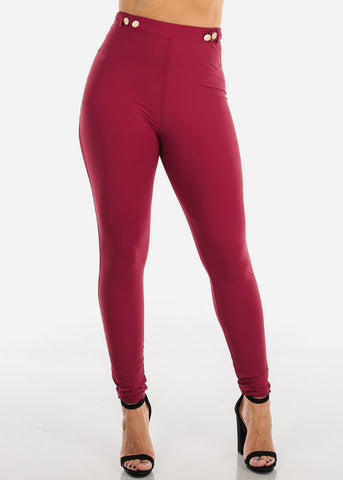 Burgundy High Rise Dressy Skinny Pants