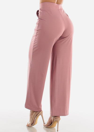 Wide Legged Mauve Dressy Pants