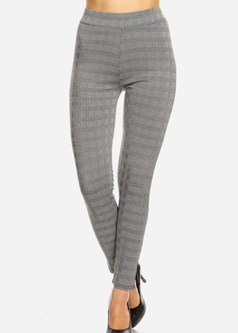 Slim Fit Plaid White & Black Pants