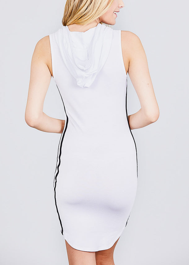 Casual Sleeveless White Hoodie Dress