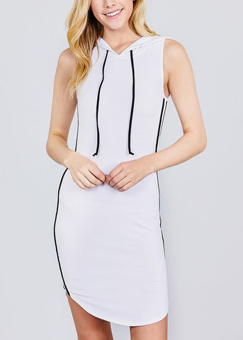 Image of Sleeveless White Hoodie Dress