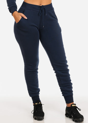 High Rise Drawstring Jogger Pants (Navy)