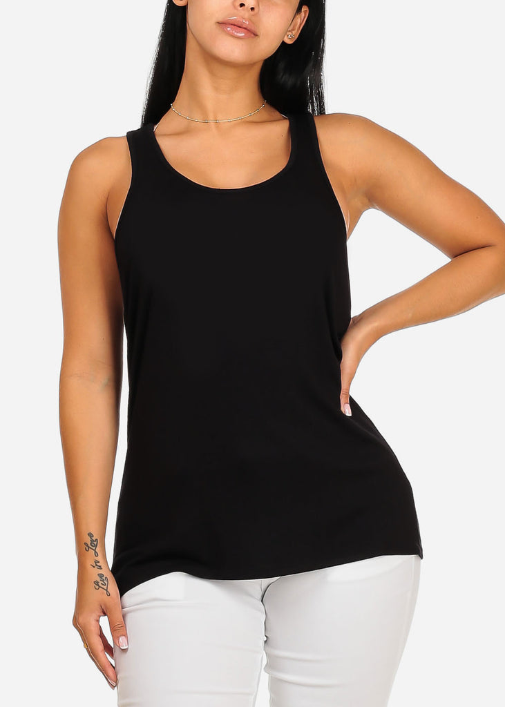 Sleeveless Super Stretchy Loose Fit Casual Daily Wear Black Top Tee Camisole For Women Ladies Junior On Sale