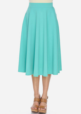 Fit & Flare Teal Midi Skirt